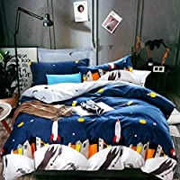MIL Furnishings King Size Space Glace Cotton Double Bed Comforter Set with Bedsheet for Kids Room (Blue, 240 x 260 cm)