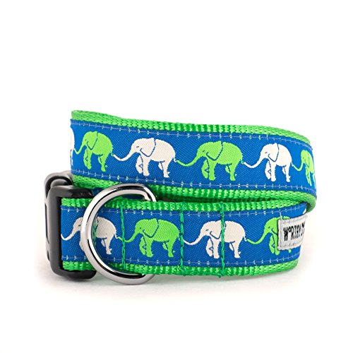 (The Worthy Dog   Elephant Parade March Walk Green    Adjustable Designer Pet Dog Collar , Navy Blue, XL)