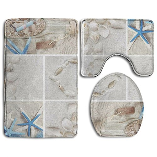 Beach Theme Bath Mat,Bathroom Carpet Rug,Non-Slip 3 Piece Bathroom Mat Set Beach Theme Coffee