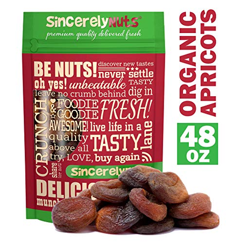 Sincerely Nuts Organic Certified Dried Turkish Apricots - Three LB Bag - All Natural - Unsweetened, Unsulfured & Whole - Rich in Nutrients - Kosher - Guaranteed Pleasure!
