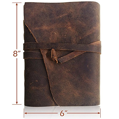 Bless-Pure-Soft-Leather-Journal-Travel-Diary Handmade-Unlined-Cream-Paper Antique-quality-Vintage-Bound-Notebook-for-Men-Women (8 x 6, Rough Leather…