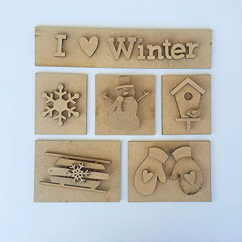 Foundations Décor, Shadow Box Kit - I 'heart' Winter