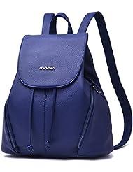 Women PU Leather Bags Backpacks Bookbags School for Women Sheng TS(Blue Casual)