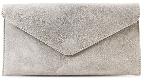 Cross Leather Envelope Suede Purse Italian Genuine Grey Handbag Party Wedding Clutch Bag Bags Over Light xwaFCq