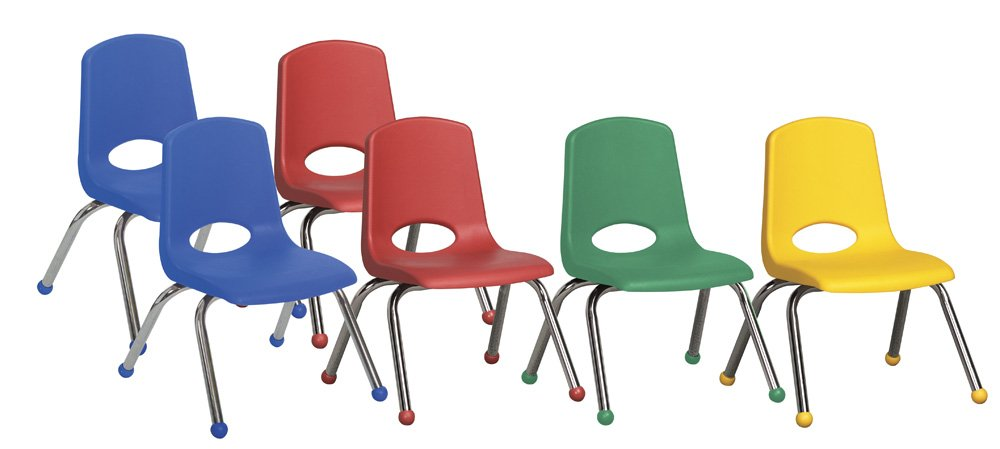 ECR4Kids 12'' School Stack Chair, Chrome Legs with Ball Glides, Assorted (6-Pack)