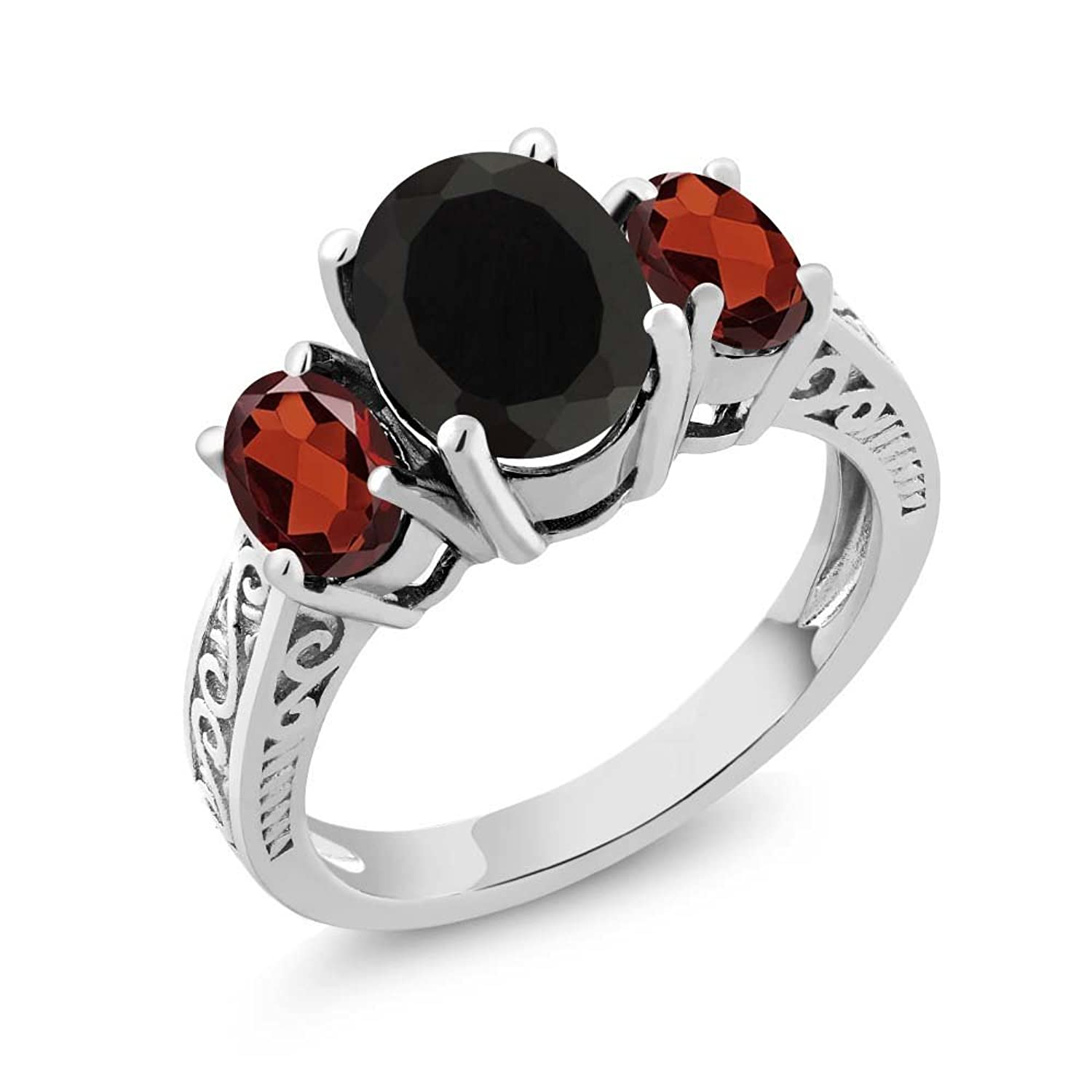 Sterling Silver Genuine Black Onyx & Red Garnet 3-Stone Women's Ring (2.73 cttw, Available in size 5, 6, 7, 8, 9)