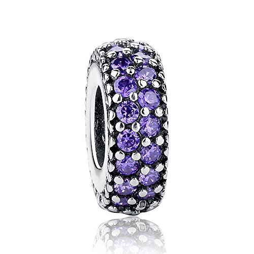 (The Kiss Inspiration Within with Fancy Purple CZ Spacer 925 Sterling Silver Bead Fits European Charm Bracelet)