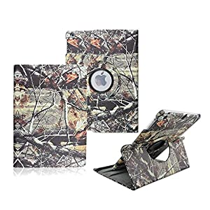iPad Mini 1/2/3 Case - Tsmine Premium 360 Degree Rotating PU Leather Case Camouflage Branch Straw Mossy Leaves For iPad mini 1st/2nd/3rd, Branches