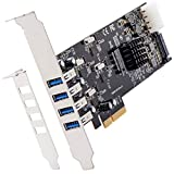 SHINESTAR 5 Gbpbs USB 3.0 to PCIe Expansion Card,4 Port Independent USB 3.0 to PCI Express 3.0 x4 Controller Hub Card with Low Profile Bracket, SATA and LP4 Double Power Supply for PC Desktop, Support