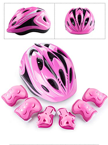 XWB Children Helmet and Knee Pads Elbow Wrist Guard Sport Protective Gear for Cycling Skating Skiing Adjustable for Kids 6 to 12 Years Old (Pink)
