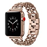 Wearlizer Compatible Apple Watch Band 42mm Womens Mens iWatch Cowboy Chain Wrist-Bands Stainless Steel Replacement Strap Bracelet Removal Link,Series 3 2 1 Sport Edition-Copper Rose Gold