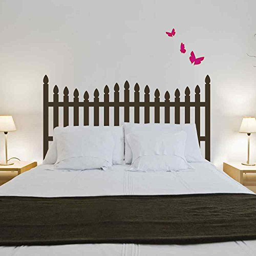 BATTOO Headboard Wall Decal - Picket Fence Style with Butterfly Bedpost Vinyl Wall Sticker(Black, King)