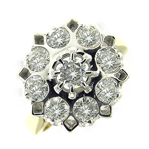 1.90 Ct Yellow & White Gold Russian Antique Style Diamond Ring 14kt ()