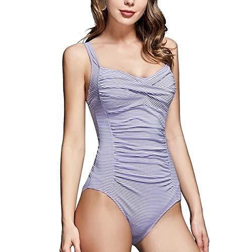 T1FE 1SFE Twist Front Shirred One Piece Swimwear for Women Stripes Plus Size Swimsuit with Tummy Control Bathing Suits Slim Monokini