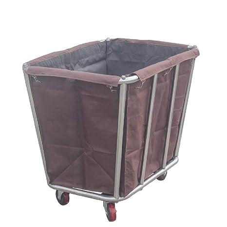 Carro de lavandería YXX Cesto de Ropa rodante de Acero ...