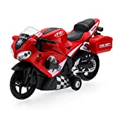 Playking 552S Die Cast Metal Engine Fire Rescue and Highway Patrol Interception Bike, Color May Vary
