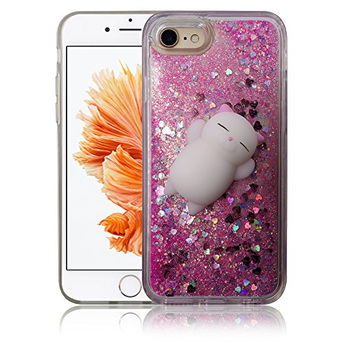 iPhone 7 / iPhone 8 Case, Yizhi Glitter Squishy Phone Case, Finger Pinch 3D Cat Toy Sparkle Bling Liquid Floating Quicksand Diamond Proctive Cover for iPhone 7/8 (Rose Pink - Watch Pink Diamonds Floating