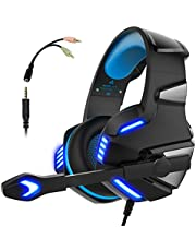 Gaming Headset for PS4 Xbox One, Micolindun Over Ear Gaming Headphones with Mic, Stereo Bass Surround, Noise Reduction, LED Lights and Volume Control for Laptop, PC, Tablet, Smartphones