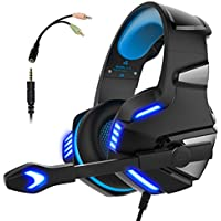Gaming Headset for PS4 Xbox One, Micolindun Over Ear Gaming Headphones with Mic, Stereo Bass Surround, Noise Reduction, LED Lights and Volume Control for Laptop, PC, Mac, iPad, Smartphones (Blue)