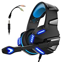Gaming Headset PS4 Xbox One, Micolindun Over Ear Gaming Headphones Mic Stereo Surround Noise Reduction LED Lights Volume Control Laptop, PC, Tablet, Smartphones