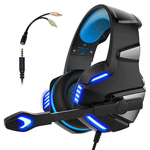 Gaming Headset for PS4 Xbox One, Micolindun Over Ear Gaming Headphones with Mic, Stereo Bass Surround, Noise Reduction, LED Lights and Volume Control for Laptop, PC, Mac, iPad, Smartphones (Blue) (Console Lighting Scene)
