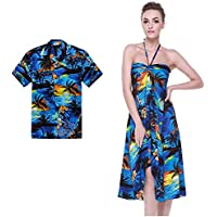 2dddf077e Couple Matching Hawaiian Luau Party Outfit Set Shirt Dress in Sunset Blue  Men M Women M