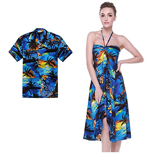Couple Matching Hawaiian Luau Party Outfit Set Shirt Dress in Sunset Blue Men 2XL Women -