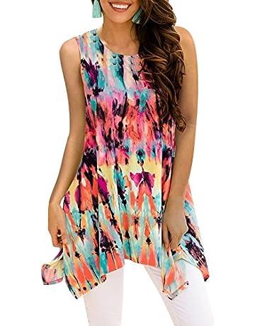 4a48556d7841 BOCOTUBE Women s Irregular Hem Printed Sleeveless Blouse Loose T-Shirt  Tunic Tank Top