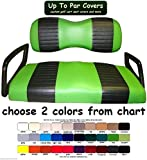 Yamaha Drive Custom 2-Stripe Golf Cart Seat Cover Set Made with Marine Grade Vinyl - Staple On - Choose Your Colors From Our Color Chart!