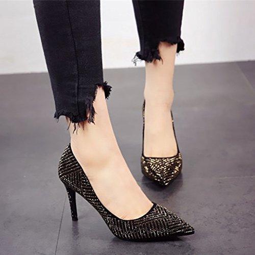 personalidad Moda llanamente de Golden Zapatos zapatos temperamento fino zapatos tacón estilo tacón único europeo superficial FLYRCX partido lady B5dRIwqI