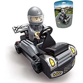 EDUKiE Toys Car, A Racing Car Building Block, A Cool Buildable Gift for 5 Year Old Kid, New 2020 EK1604 Pull Back Car Toy Grey