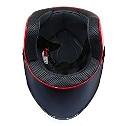 uxcell Red ABS Plastic Motorcycle Safety Half Helmet w Black Full Face Shield Visor