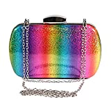 Cobrays 2019 New Updated Women Rainbow Crossbody Bag PU Leather Tote Bag Fashion Chain Wallet for Travel Wedding Evening Party