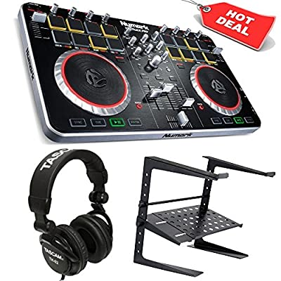 Numark Mixtrack Pro II USB DJ Controller with Integrated Audio Interface and Trigger Pads + Free Tascam TH-02 Headphone and Laptop Stand.