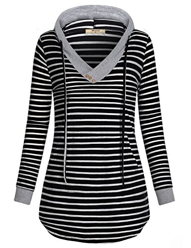 Hoodie Sweatshirts for Women,Miusey Ladies Long Sleeve Blouse Top Front Pocket Slim Fit Evening Weekend Shift Workout Athleisure Wear Knit Basic Slouchy Pullover V Neck Tunic Black and White Stripe M