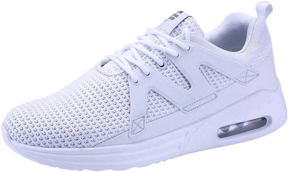 JiaMeng Zapatos para Correr En Montaña Asfalto Deportes Zapatillas Zapatos de Malla al Aire Libre de Encaje Informal hasta Soles cómodos Zapatillas Deportivas Hombre (Blanco,EU45=CN46): Amazon.es: Zapatos y complementos