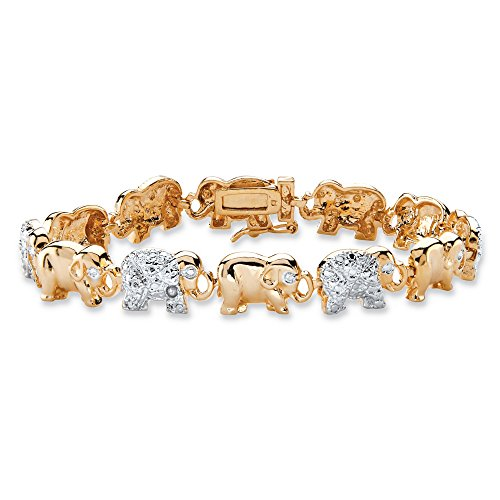 White Diamond Accent Two-Tone 18k Gold-Plated Elephant Parade Bracelet (Line Clear Stone Bracelet)