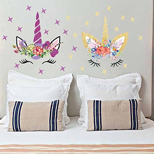 Easma Happy Unicorn Decal, Unicorn Wall Decal, Unicorn Floral Decal Fairytale Wall Decal Girls Bedroom Home Decor 2pcs With Stars