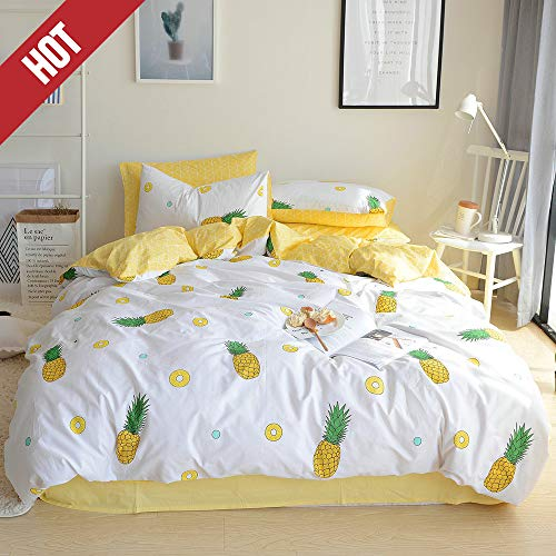 【Latest Arrival】 Kids Duvet Cover Queen Cotton Pineapple Duvet Cover Cream Full Fruit 3 Pieces Yellow Duvet Cover Lightweight Cute Comforter Cover with Zipper for Girls Adults, NO Comforter NO Sheet (Cute Bedspreads Cheap)