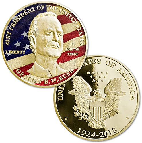 Aizics Mint George Bush Challenge Coin; 2018 Collectible Commemorative Coin 24kt Gold Plated United States Eagle Design ()