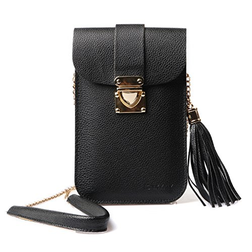 Cell Phone Bag LKZAIY PU Leather Small Crossbody Bag With Detachable Chain Shoulder Strap Clear Purse Wallet