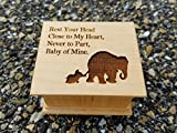 Mother's day gift, Custom made music box with elephants engraved on the top, personalizing on the bottom side is available with your choice of color and song, great gift Birthday gift