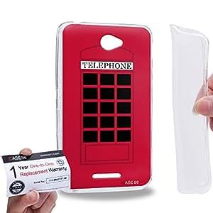 Case88 [Sony Xperia E4 / E4 Dual] Gel TPU Carcasa/Funda & Tarjeta de garantía - Art Fashion Design Retro Red London Telephone Box