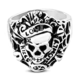 Stainless Steel 2 Color Vintage Gothic Love Kills Slowly Ghost Skull Biker Ring