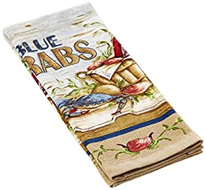 Kay dee designs printed cotton terry towel 16 inch by 26 inch blue crabs home Kay dee designs kitchen towels