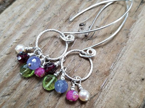 Multi Gemstone and Sterling Silver Hoop Earrings