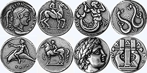 Greek Mythology, Artemis 8S, Triton 14S, Taras 15S, Apollo 30S, Greek Gods & Goddesses Coin Collection, Most Famous Greek Coins, SET 4 of 4 Different - Silver Horse Coin Set