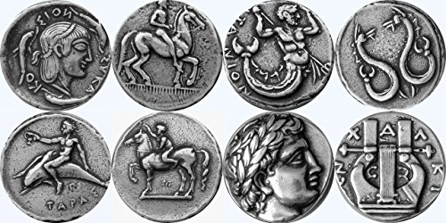 Pewter Coin Set (Greek Mythology, Artemis 8S, Triton 14S, Taras 15S, Apollo 30S, Greek Gods & Goddesses Coin Collection, Most Famous Greek Coins, SET 4 of 4 Different)