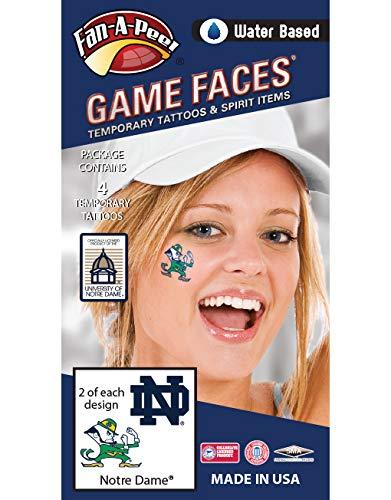 Fan A peel Notre Dame (ND) Fighting Irish - Water Based Temporary Spirit Tattoos - 4-Piece - 2 Leprechaun Logo & 2 Navy Blue ND Logo