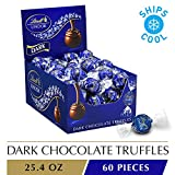 Lindt LINDOR Dark Chocolate Truffles, 60 Count Box, 25.4 Ounce